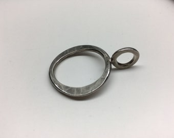 Sterling Silver Hand Pounded  Circle Pendant