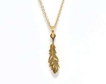 Gold Feather Necklace, feather charm, feather pendant, natural woodland necklace, nature, boho necklace, short layer necklace, delicate