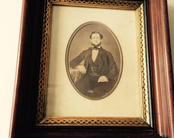 Antique/ 1800s// Dapper Gentleman// OLD Tinted Photo// John Driby// Mahogany Frame// Gorgeous Piece!