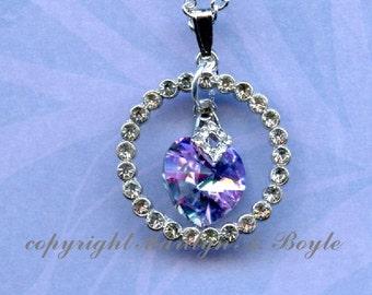 JEWELRY-PENDANT-HEART;  amethyst color crystal heart, rhinestone bail, rhinestone circle, 15 inch silver metal chain, choker, Valentine day,