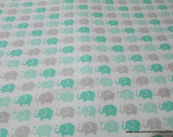 Flannel Fabric - Elephant Parade Mint - 1 yard - 100% Cotton Flannel