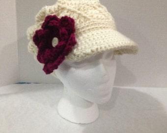 Slouchy Newsboy Brim hat with Flower