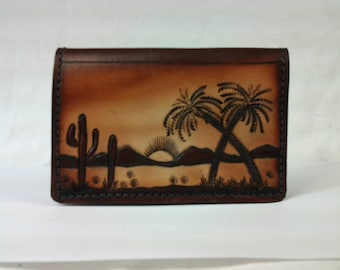 Arizona Sunset Minimalist Wallet in Contrasting Browns. Made in U.S.A.