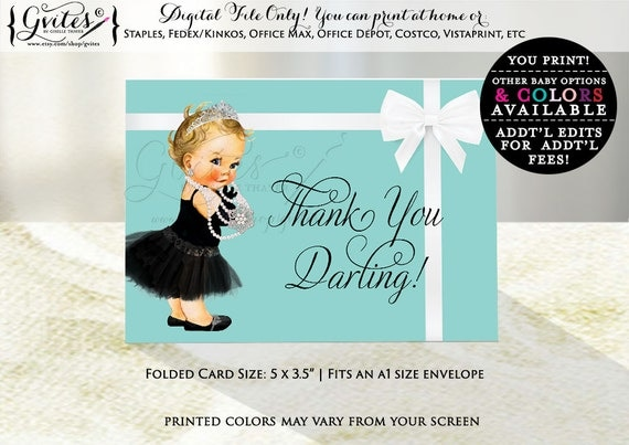Baby shower breakfast at thank you cards, Audrey Hepburn thank you darling shower card, printable Audrey party theme.