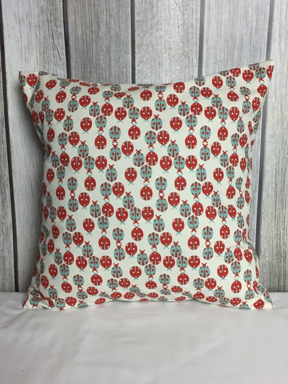 Throw Pillow. Lady Bug Pillow. Pillow Cover. Decorative Pillow. Red and Blue Pillow