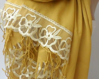 Gold Pashmina shawls with Gold French Lace Lightweight So Soft Bridesmaid pashmina elegancescarf Lace Summer Wedding Party shawls