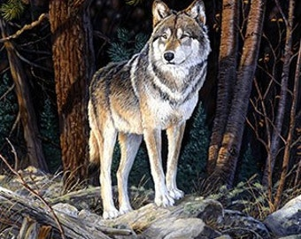 Wildlife Wolf/Wolves/Animals/Detailed Landscape DIGITALLY printed FABRIC PANEL