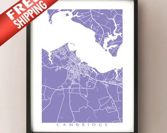 Cambridge, MD Map - Eastern Shore, Maryland, USA Art Poster Print
