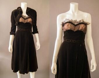 vintage 1940s dress / 40s brown velvet dress and jacket set / small / Chocolate Florentine Dress