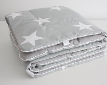 Baby Quilt Blanket Stars Grey and White Baby Bedding Comforter Baby Cot Bedding