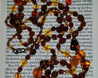 Amber Glass Beaded Necklace - vintage