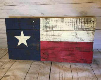 Texas flag Pallet Sign, Texas Heritage, recycled pallet flag, hand painted wooden Texas state flag, rustic wood Texas flag, 18x30