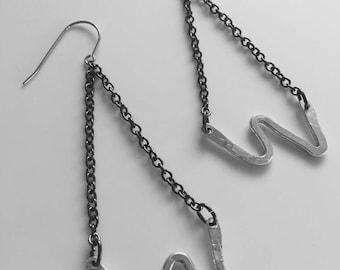 Sterling silver zigzag chandelier earrings
