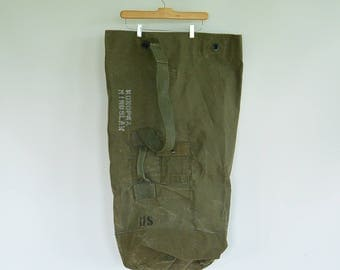 """Type 1 US Issued Military Large Duffel Bag Top Load Heavy Green Canvas Soldier's Names Written on outside 36"""" x 22"""""""