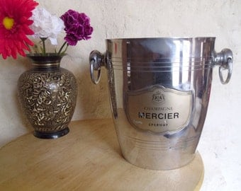Champagne ice bucket vintage French MERCIER silver Aluminum Champagne / wine Chilling Bucket Made in France Chic Wedding Gift