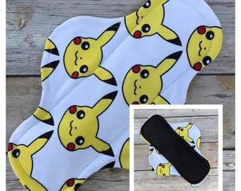 "9"" Velour Pikachu Cloth Menstrual Pad - Mama Cloth. Pokemon"