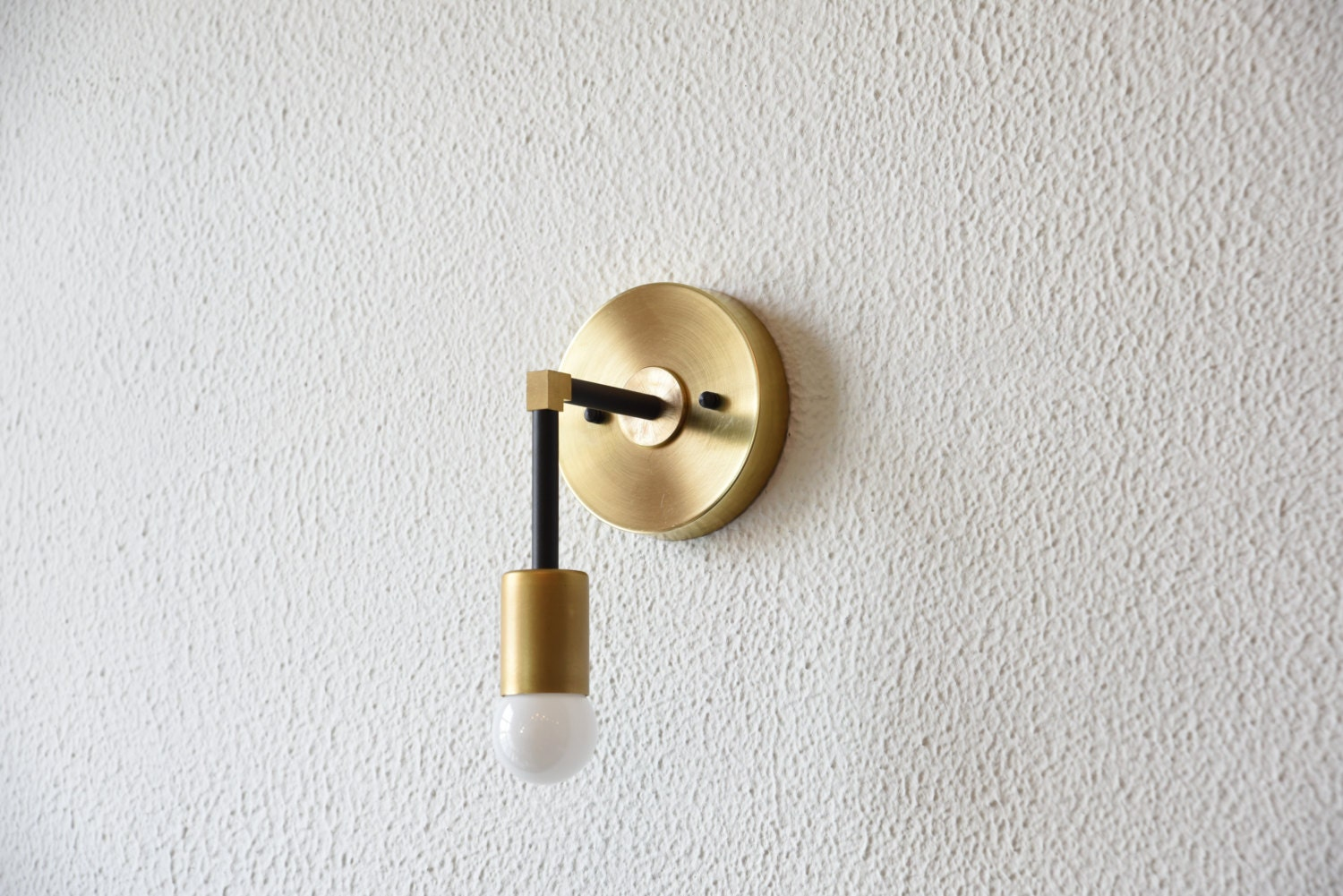Free Shipping! Black and Gold Raw Brass Wall Sconce Vanity Gold Brass Modern Abstract Mid ...