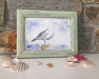 Whimsical Beachy Seagull Watercolor Print 5x7