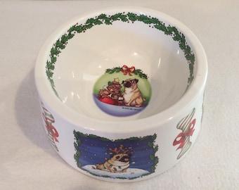 Vtg Gary Patterson Ceramic Heavy Dog Bowl Christmas  Like New!!!