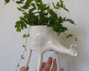 Ceramic Deer Planter / indoor planter / succulent planter