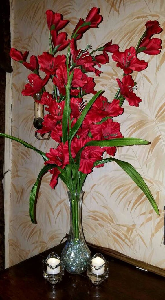 Items similar to red gladiolus floral wedding centerpiece