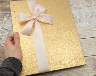 Gold Wedding Album, 11x9, Wedding Photo Album, Photo Guest Book, Large Photo Album, Portrait Orientation, Wedding Gifts, MADE to ORDER