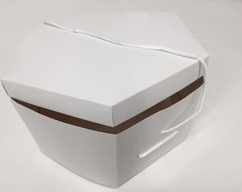 New White HAT BOX for mink fox sable FUR hat