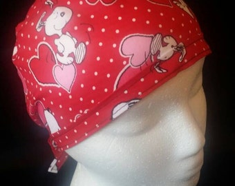 Snoopy Valentine Love and Hearts Bow Tie Back Surgical Scrub Hat