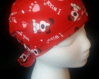 Puppy Love and Hearts Bow Veterinary Med Ponytail Ribbon Tie Back Surgical Scrub Hat
