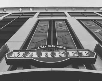 Charlotte NC 7th Street Public Market Downtown, Uptown, North Carolina Architecture Black and White Photography Print