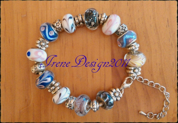Sterling 925 Silver Bracelet with Glass & Silver Beads