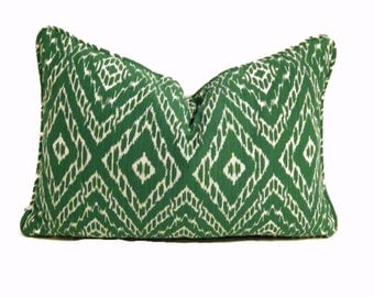 Green Ikat Pillow Cover, Malachite Green Pillow Cover, Green and White Lumbar Pillow, Modern Green Pillows