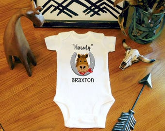 Baby Boy Clothes, Howdy Personalized Bodysuit, Baby Horse Bodysuit, Baby Boy Bodysuit, Baby Shower Gift, New Mom Gift, New Baby Gift
