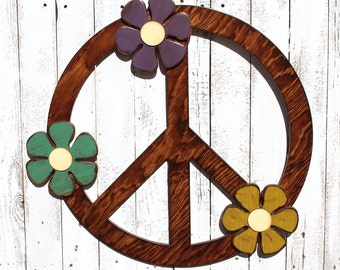 "Peace Sign - Giant Peace Sign - 24"" Peace Symbol - Peace Sign Wall Art - Hippie Flowers - Hippie Wall Art - Hippie Wall Decor - Gypsy Decor"