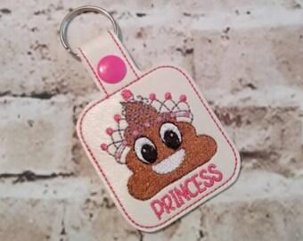 Poop Princess - In The Hoop - Snap/Rivet Key Fob - DIGITAL EMBROIDERY Design