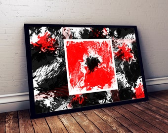 Red & Black Abstract Artwork- 24x36- by (Atom Design)