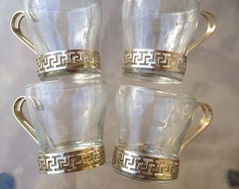 Coffee Cup Greek Key, Gold Glass and Metal, Grecian Key Mid Century Continental Glass, Coffee Glass Mad Man, Glass Mug Greek Key, MCM  60's