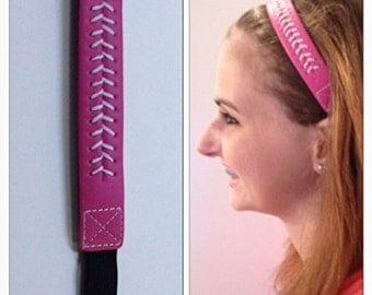 Fabulicious Pink White Stitch Leather Headband
