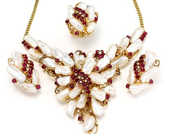 Vintage Baroque Pearl Jewelry Set with Rubies & Diamonds 14K Yellow Gold 8.60ctw