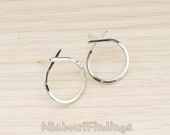 ERG374-R // Glossy Original Rhodium Plated Simple Round Ribbon Link Earpost, 2 Pc