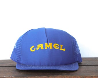 Vintage Camel Cigarettes Tobacco Joe Camel Minimal Logo Trucker Hat Snapback Baseball Cap Made In USA