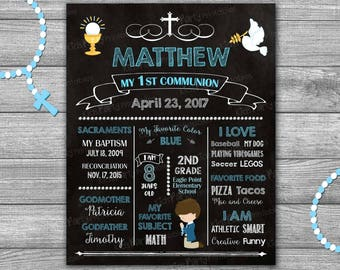First Communion Boy Sign, First Communion Chalkboard Sign PRINTABLE, First Communion Poster Gift, First Communion Decorations Holy Banner