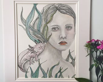 Girl with axolotl illustration, axolotl illustration, axolotl drawing, axolotl illustration, axolotl, watercolor illustration, surreal art,
