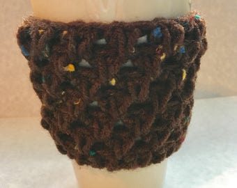 Brown Crochet Cozy, crochet cozie, crochet mug sleeve, travel mug sleeve, travel mug cozie, travel mug cozy, to go cup sleeve, ecofriendly