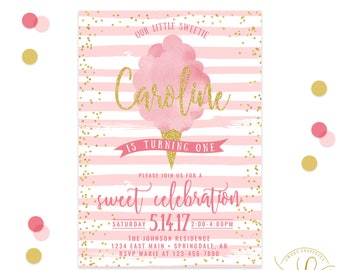 Cotton Candy Invitation | First Birthday Party | First Birthday Invitation | Circus Invitation | Circus Party | Carnival Invitation