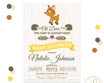 Woodland Animals Baby Shower Invitation | Gender Neutral Baby Shower Invitation | Forest Animals Invitation | Deer Baby Shower