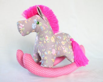 Rocking Pony, baby horse, Plush, Baby - Colorful, Cute, Baby Shower, Cotton Fabric, Pink, Grey, Floral Pattern