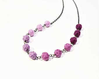 Pink Textile Necklace. Pretty Pink Wool Yarn Beads. Waterdrop Beads. Pink Gradation. Mother's Day Gift.