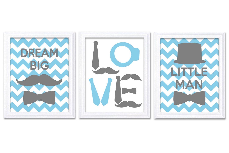 Little Man Nursery Art Set of 3 Blue Grey Nursery Print Tophat Bowtie Tie Mustache Child Baby Art Pr