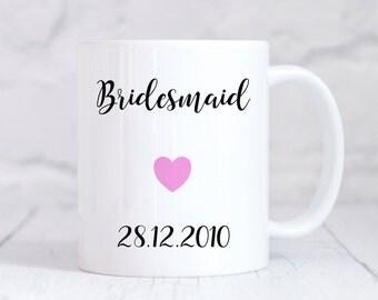 Bridesmaid Mug, Bridesmaid Gift, Wedding Thank You Gift, Personalised Wedding Gift, Personalised Mug, Coffee Mug, Tea Mug, Cup